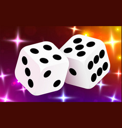 two dices surrounded a luminous frame luck vector image