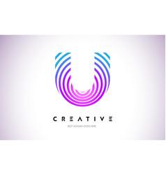 u lines warp logo design letter icon made vector image