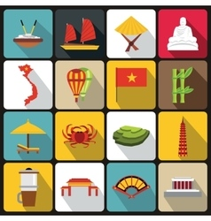 Vietnam travel icons set flat style vector