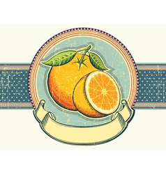Vintage label on old paperOrange fresh fruits vector image
