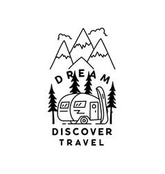 vintage simple camp logo design outdoor adventure vector image