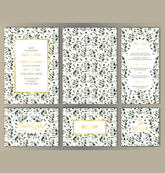wedding template set with olive brunches vector image
