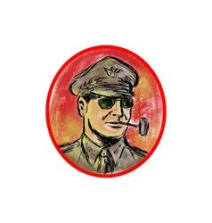 World War II General Corn Cob Pipe Watercolor vector