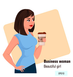 Young cartoon business woman in office style vector