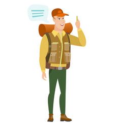 Young caucasian traveler with speech bubble vector