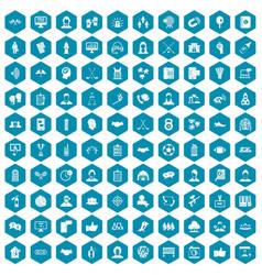 100 team icons sapphirine violet vector image vector image