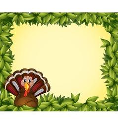A turkey in a leafy frame border vector