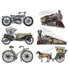 car motorbike horse-drawn carriage locomotive vector image