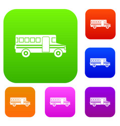 school bus set collection vector image vector image