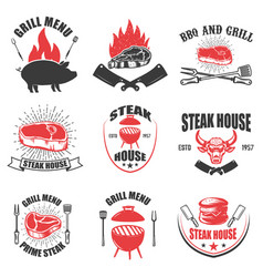 set of steak house emblems bbq and grill vector image vector image