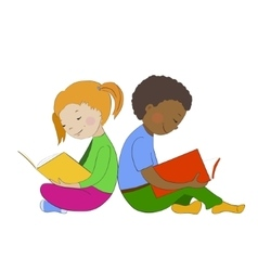 Children reading books Boy and girl learning vector image