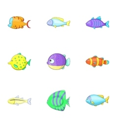 Sea life icons set cartoon style vector image