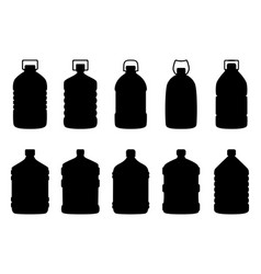 set of silhouettes of big water bottles vector image vector image