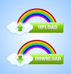 Upload and download buttons vector image vector image