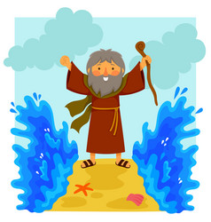 cartoon moses parting the red sea vector image vector image
