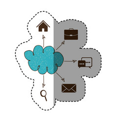 color cloud icons network service connection vector image