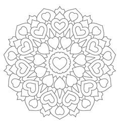 mandala with hearts coloring book page vector image