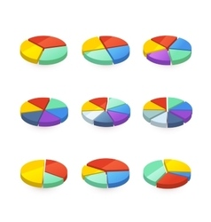 Set of colorful pie diagrams on white vector image vector image