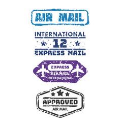 set of vintage postage mail stamps vector image