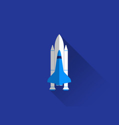 space shuttle in a flat style with a long shadow vector image