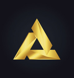triangle gold shape logo vector image