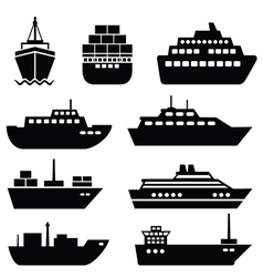 Set of ship icons vector image vector image