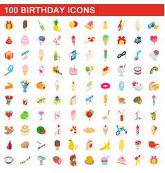 100 birthday icons set isometric 3d style vector