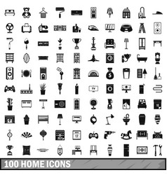 100 home icons set simple style vector