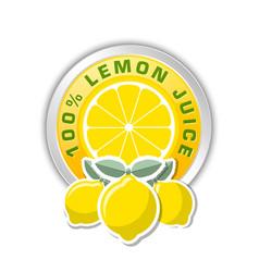 100 lemon juice badge with three lemons placed on vector image