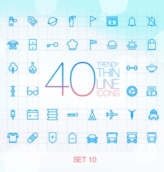 40 Trendy Thin Icons for web and mobile Set 10 vector