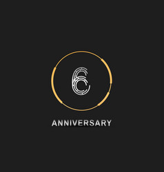 6 anniversary logotype with silver number vector