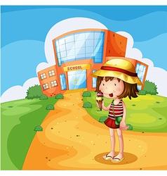 A girl eating an ice cream near the school vector image