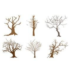 A set of abstract isometric brown trees vector