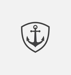 Anchor shield icon vector