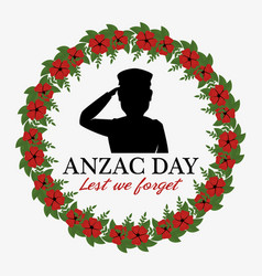 anzac day poster with military soldier vector image