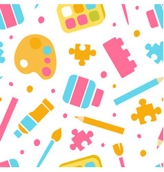 Art supplies seamless pattern textile stationery vector