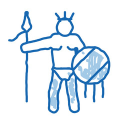 Aztec with spear and shield outline vector