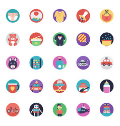 Baby and kids flat icons collection vector