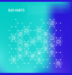 bad habits concept in honeycombs vector image