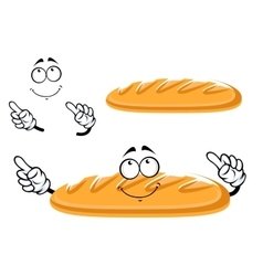 Baguette bread character isolated on white vector image