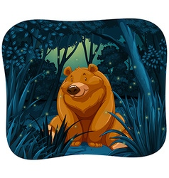 Bear and fireflies vector