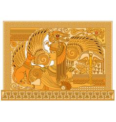 Beautiful egyptian queen with sacred cat between vector