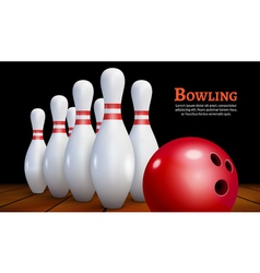 Bowling realistic background Bowling game leisure vector