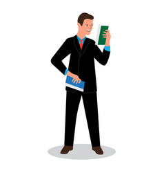 Businessman reads data scientific report news vector