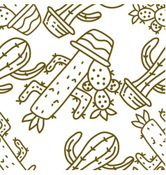 cactus pattern seamless template vector image