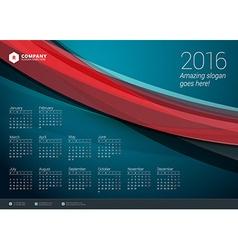 Calendar 2016 design template week starts monday vector