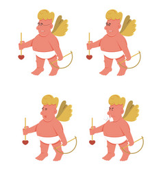 cartoon cupids standing with arrows vector image