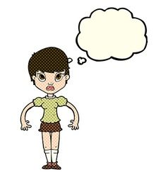 Cartoon woman looking annoyed with thought bubble vector