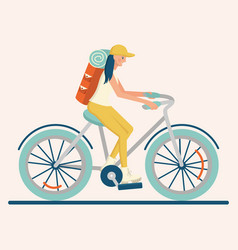 character of flat girl riding a bicycle vector image