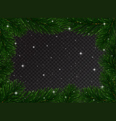 christmas border with fir tree branches and snow vector image